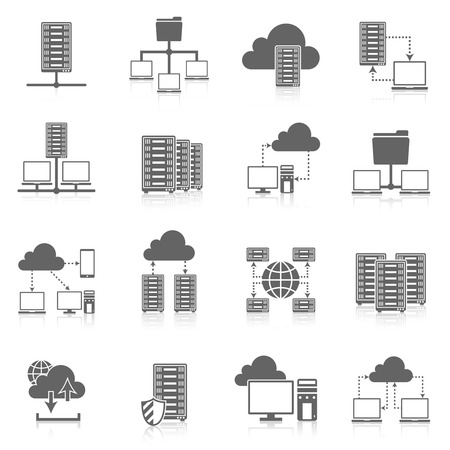 hosting: Public cloud secure data storage internet service hosting connected network users files black abstract isolated vector illustration