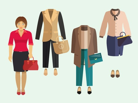 clothe: Business woman clothe collection decorative icons set isolated vector illustration Illustration
