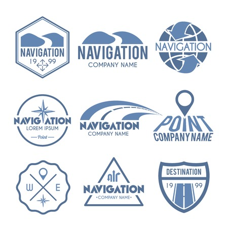 global navigation system: Navigation label grey set with route search global positioning system elements isolated vector illustration Illustration