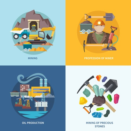 Mining design concept set with profession of miner oil production precious stones flat icons isolated vector illustration