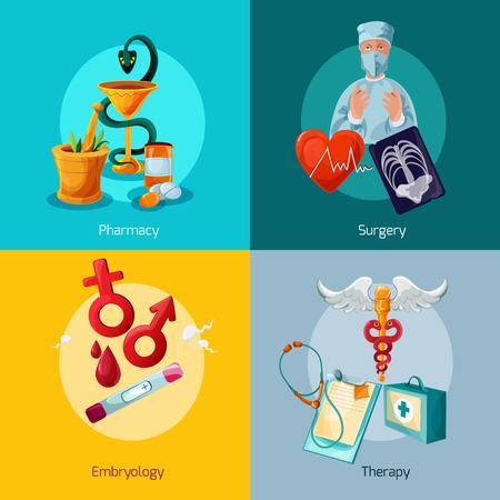 surgery concept: Medical design concept set with pharmacy surgery embryology therapy icons isolated vector illustration