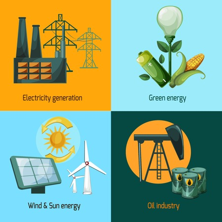 sun oil: Energy design concept set with electricity generation green wind and sun oil industry icons isolated vector illustration