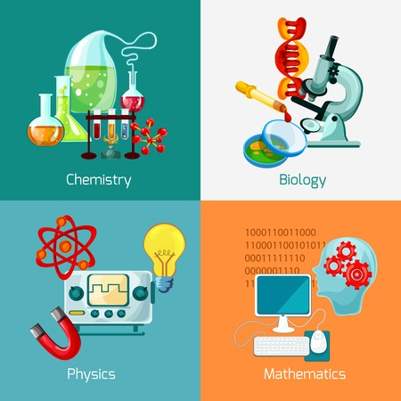 equipment experiment: Science design concept set with chemistry biology physics mathematics icons isolated vector illustration