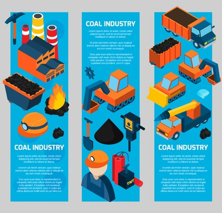 transportation facilities: Coal industry vertical banners set with machines worker transportation isometric elements isolated vector illustration Illustration