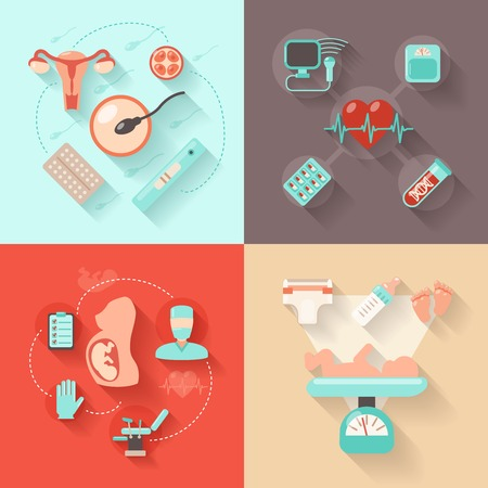 Pregnancy design concept set with woman anatomy delivery and maternity flat icons isolated vector illustration Vector