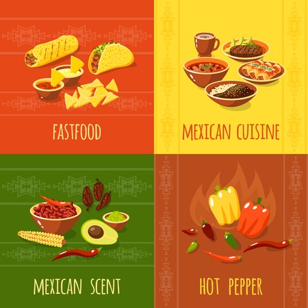 scent: Mexican design concept set with fastfood cuisine scent hot pepper icons isolated vector illustration Illustration