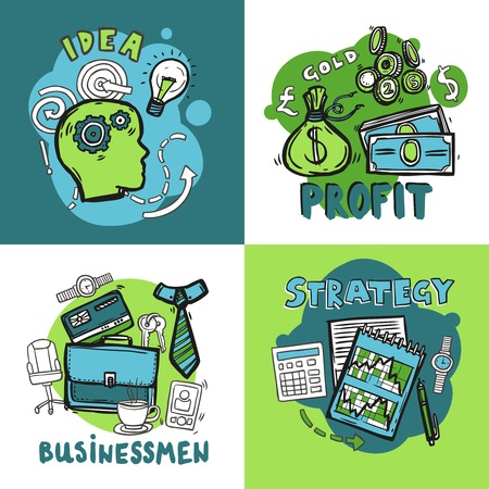 Business design concept set with idea profit businessman strategy sketch icons isolated vector illustration Vector