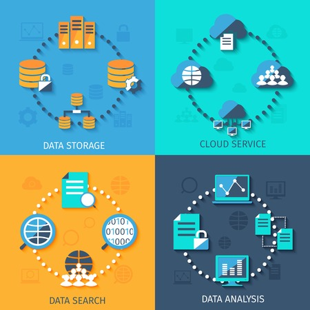 professional: Big data secure storage and analysis cloud service system 4 flat icons composition abstract isolated vector illustration Illustration