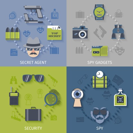 detonator: Intelligence secret agent security gadgets 4 flat icons composition with spy sunglasses camera abstract isolated vector illustration