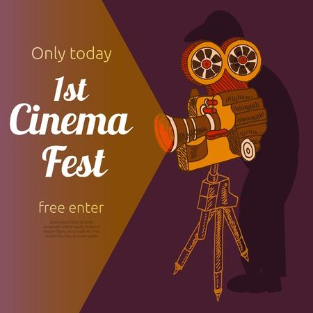 camara de cine: Vintage primera muestra de cine evento de entrada gratuita Billposter anuncio pancarta con el viejo pictograma proyector resumen ilustraci�n vectorial