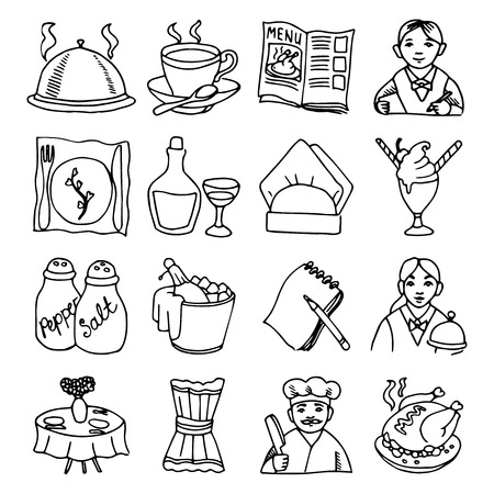 main dishes: Bar restaurant dishes menu black outline sketch icons collection with wine bottle and chicken abstract vector illustration