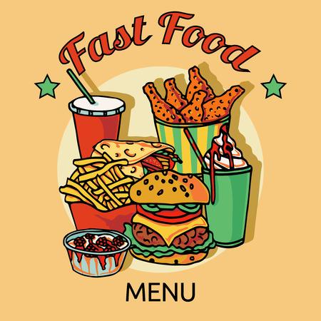chips and salsa: Fast food  restaurants hain menu advertisement poster with chicken hamburger soda drink and hotdog abstract vector illustration Illustration