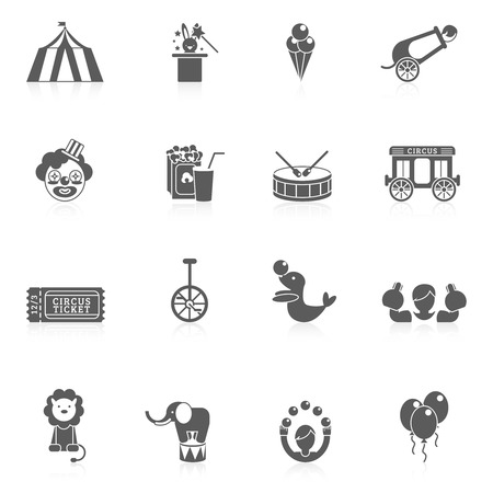 circus caravan: Circus icon black set with balloon sealion and elephant animals isolated vector illustration