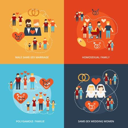 femme sexe: Couples homosexuels lesbiennes polygamie abstraite isol� illustration vectorielle famille Nontraditional quatre ic�nes plates composition gais et Illustration