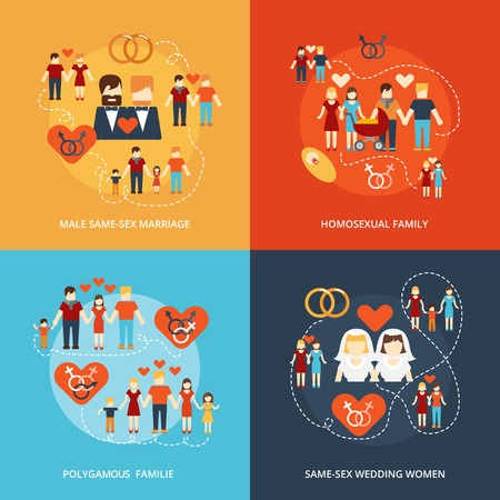 sex man: Nontraditional family 4 flat icons composition gay and lesbian homosexual couples and polygamy abstract isolated vector illustration