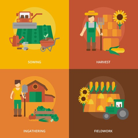 farmer: Farmer family business 4 flat icons composition of sowing fieldwork and harvesting flat  abstract isolated vector illustration