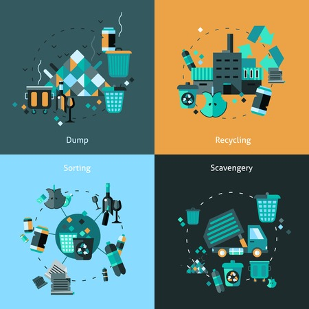 trashing: Garbage design concept set with dump recycling sorting scavengery flat icons isolated vector illustration Illustration