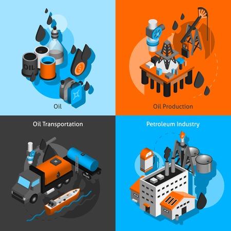 pozo petrolero: Industria del petróleo concepto de diseño conjunto con iconos isométrica de transporte de producción de petróleo aislado ilustración vectorial