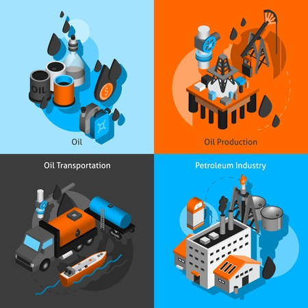 gas distribution: Petroleum industry design concept set with oil production transportation isometric icons isolated vector illustration Illustration