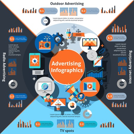 spot advertising: Advertising infographics set with marketing and commercial symbols and charts vector illustration