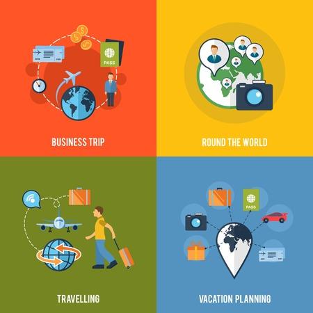 viaje de negocios: Alrededor de la planificaci�n de su viaje de negocios mundial ruta de viaje de vacaciones 4 iconos planos composici�n abstracta ilustraci�n vectorial aislado
