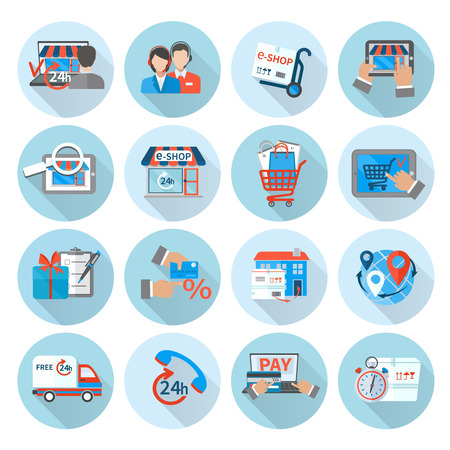 express delivery: Shopping e-commerce icon flat set with express delivery online retail store isolated vector illustration