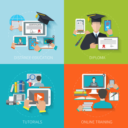 libraries: Online education design concept set with distance diploma tutorials training flat icons isolated vector illustration Illustration