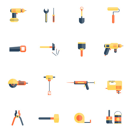 caulk: Color tools for repair and home improvement in pastel color vector illustration