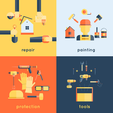 flat brush: Home repair painting brush construction tools measuring tape flat icons composition design vector illustration