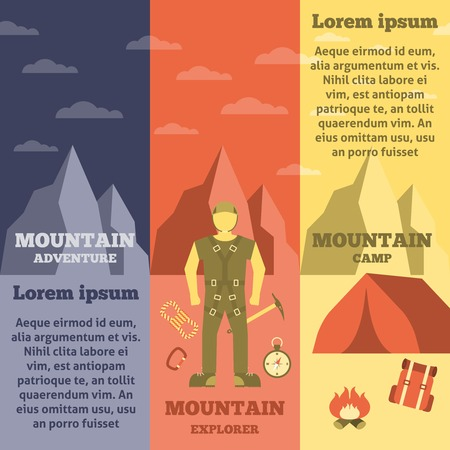 informative: Mountain climbing exploring adventure camp and rope safety equipment informative vertical banners set flat abstract vector illustration Illustration