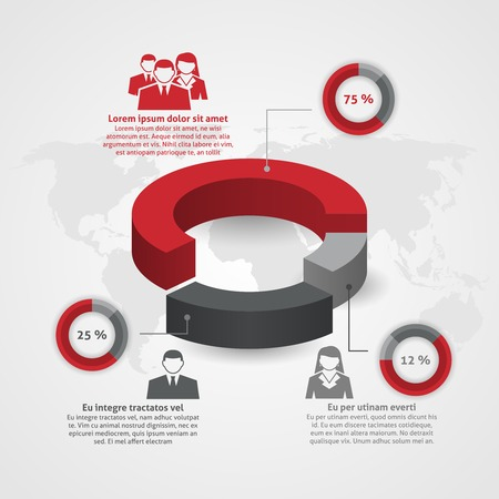 demographic: Business management team demographic composition man woman percentage circle diagram infographic report flat poster abstract vector illustration