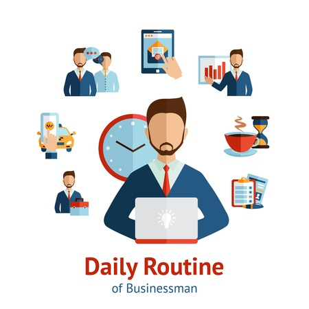 clock cartoon: Businessman cartoon character round the clock daily routine planning  circle pictograms  composition scheme poster abstract vector illustration