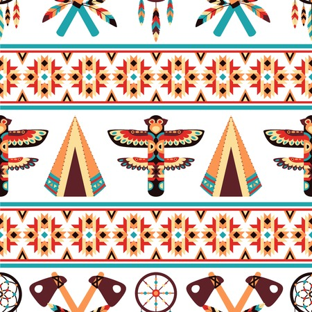 appearance: Decorative american indian ethnic border tapestry embroidery or interior scene appearance traditional native design abstract vector illustration