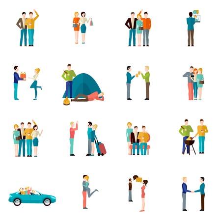 fraternidad: Amigos empresa Unión el trabajo en equipo y concepto de hermandad iconos conjunto ilustración vectorial aislado Vectores
