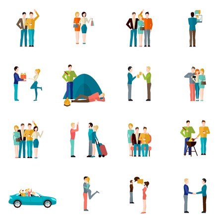 harmony: Friends company teamwork togetherness and brotherhood concept icons set isolated vector illustration