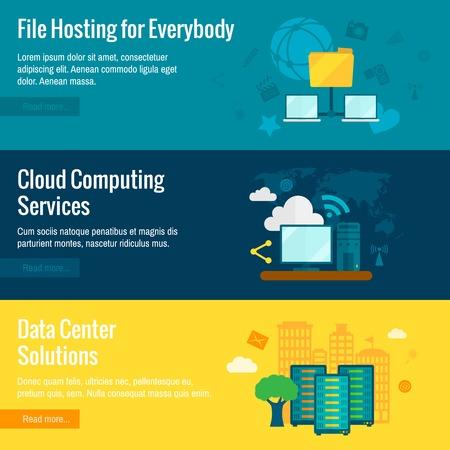 servicios publicos: Archivos entorno de intercambio de datos protegidos nube p�blica de servicios de hosting banners horizontales planas conjunto abstracto aislado ilustraci�n vectorial