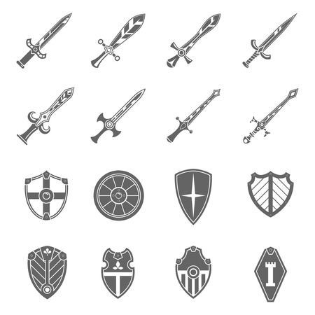 sword: Medieval crusader heraldic battle shields and historic  templar knights long steel swords black abstract isolated vector illustration