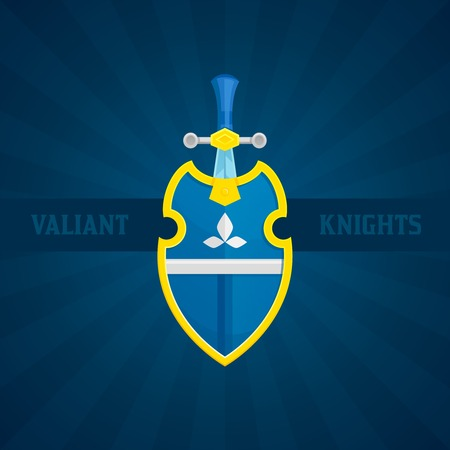valiant: Antique medieval steel sword and shield icon with valiant knights text flat vector illustration
