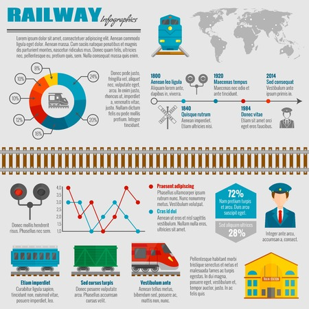 railway track: Railway infographic set with passenger transportation symbols and charts vector illustration