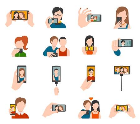 Selfie iconen plat set met mensen die het nemen van foto portretten geïsoleerde vector illustratie