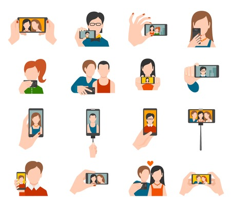 Selfie icons flat set with people taking photo portraits isolated vector illustration
