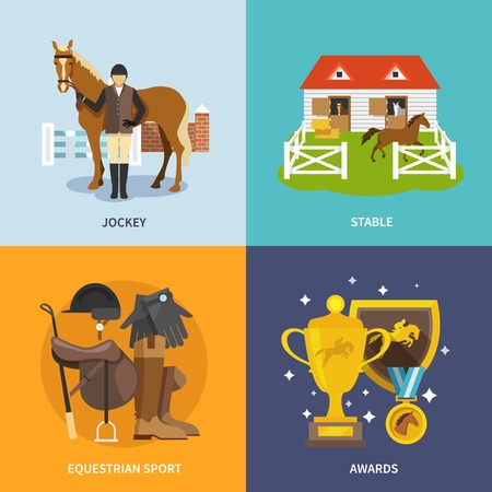 equestrian sport: Jockey design concept set with stable equestrian sport awards flat icons isolated vector illustration