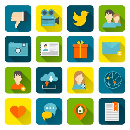 adding: Social flat icons set with adding searching for a friend cloud service isolated vector illustration Illustration