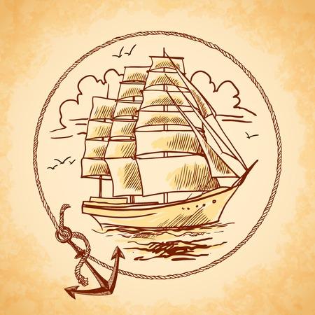 로프 프레임과 앵커 벡터 일러스트와 함께 키가 배 오래 된 나무 금속 용기 해상 상징 항해