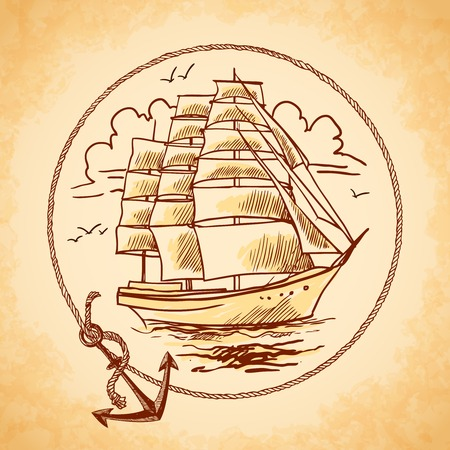 Sailing tall ship old wooden metal vessel nautical emblem with rope frame and anchor vector illustration Illustration