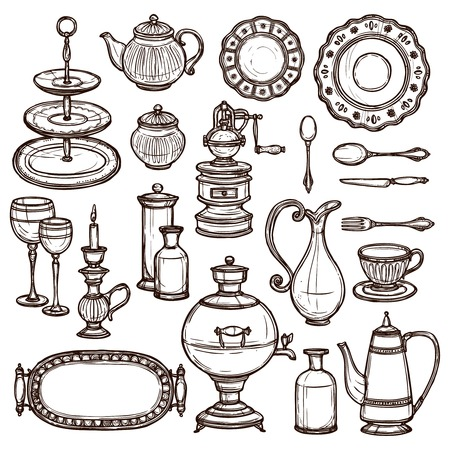 pot holder: Vintage  dishes set with coffee pot milk can spoons cups and silver tray doodle sketch vector illustration