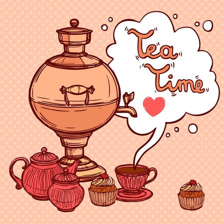 samovar: Tea time background with sketch samovar and teapot cup cake vector illustration