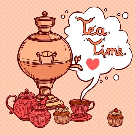 samovar: Tea time background with sketch samovar and teapot cup cake vector illustration