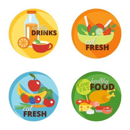 wholemeal: Healthy eating flat decorative icons set with drinks fresh food isolated vector illustration