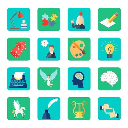 muse: Muse icon flat set with lyre dice lightbulb puzzle isolated vector illustration Illustration